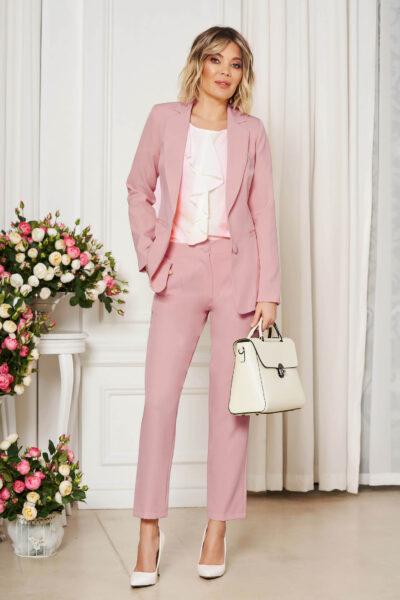 Pantaloni StarShinerS roz deschis office cu un croi drept din stofa usor elastica cu talie medie si buzunare, Talie normala