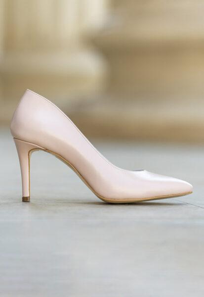 CONDUR by alexandru - Pantofi de piele cu varf ascutit Adele, Alb fildes, Piele naturala, Toc ascutit