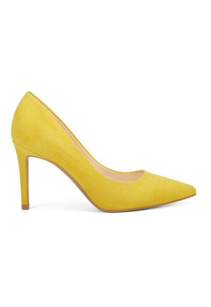 NINE WEST - Pantofi de piele ecologica Etta, galben, Varf ascutit, Piele ecologica
