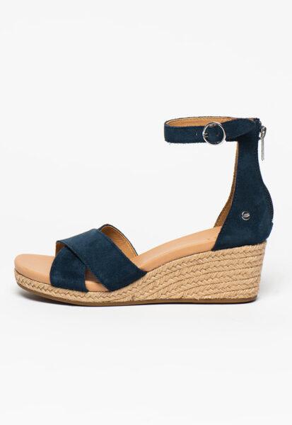 UGG - Sandale-espadrile wedge cu barete incrucisate Eugenia, Bleumarin, Casual