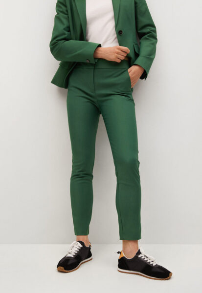Mango - Pantaloni crop slim fit Cofi, Verde inchis, Sintetic