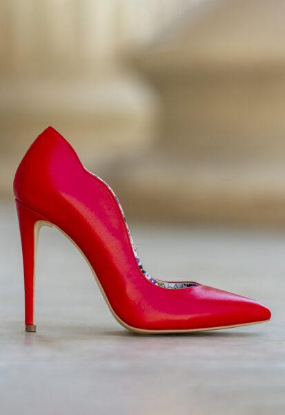 CONDUR by alexandru - Pantofi de piele cu varf ascutit si margini valurite Marilyn, Rosu, Piele naturala