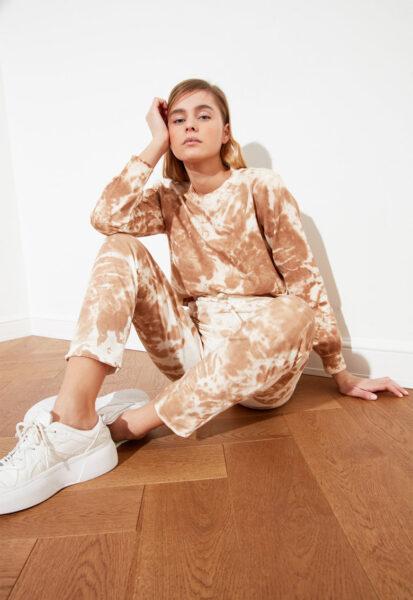 Trendyol - Set de pantaloni si bluza sport cu imprimeu, Maro camel, Alb, Bumbac