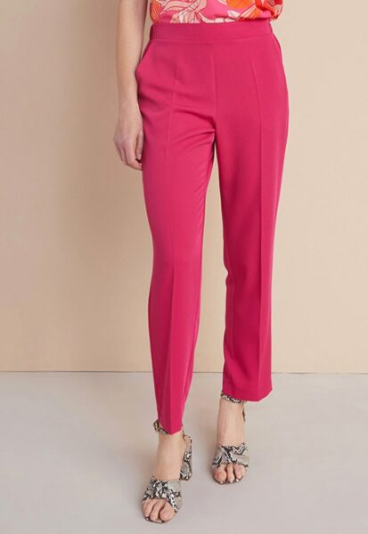 Oltre - Pantaloni eleganti drepti cu talie medie, Fucsia, Sintetic