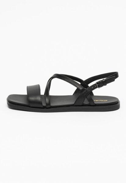 Clarks - Sandale de piele cu bareta Ofra, Negru, Talpa joasa