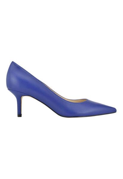 NINE WEST - Pantofi de piele cu varf ascutit Arlene, Albastru, Varf ascutit, Piele naturala