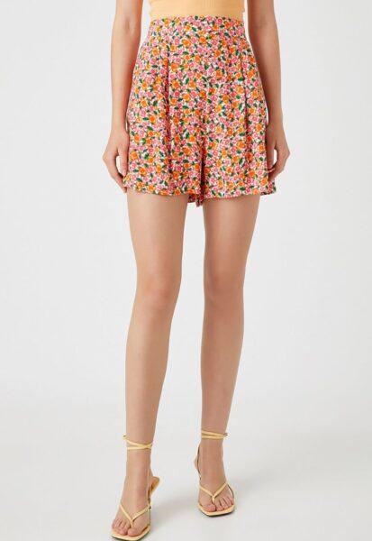 KOTON - Pantaloni scurti cu imprimeu floral, Alb, Oranj, Viscoza