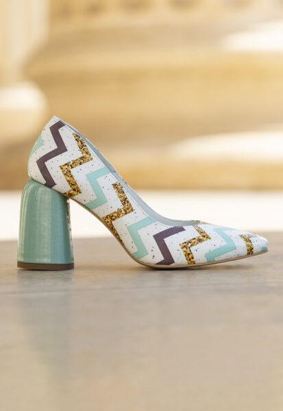 CONDUR by alexandru - Pantofi de piele cu model geometric Eveline, Alb, Turcoaz, Varf ascutit