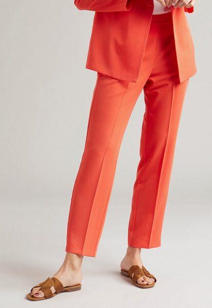 Oltre - Pantaloni eleganti drepti cu talie medie, Oranj mandarina, Sintetic