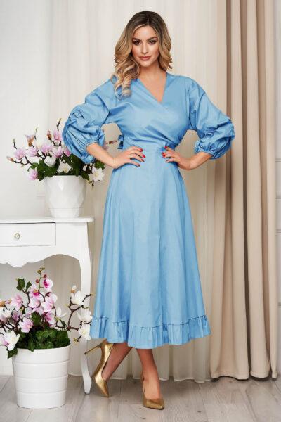 Rochie SunShine albastru-deschis din bumbac subtire accesorizata cu cordon clos cu elastic in talie, Bumbac subtire