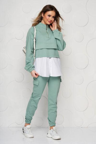Trening SunShine verde cu croi larg cu pantaloni cu buzunare si snur, Maneca lunga